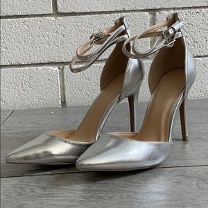 Silver Pointy toe double ankle strap high heel